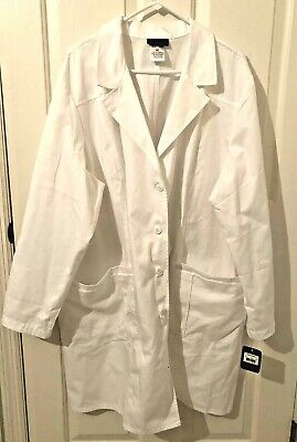 NWT CHEROKEE Long White Button Up Lab Coat-L/Sl Cotton Blend-Size 3XL