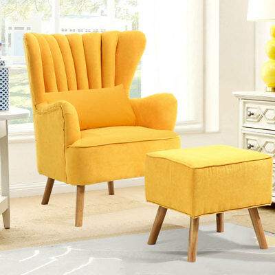 Fabric Yolk Yellow Winged Armchairs Fireside Reading Chair w/ Relaxing Footstool
