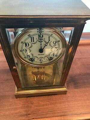 Old Antique Seth Thomas Crystal Regulator Brass  beveled Glass Clock