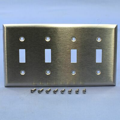 P&S NON-MAGNETIC Type 302/304 Stainless Steel 4-Gang Toggle Switch Wallplate SS4