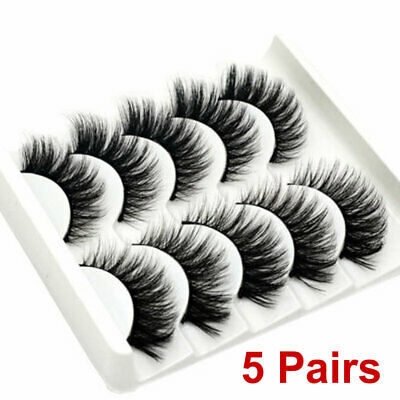 5 Pair 3D Mink False Eyelashes Wispy Cross Long Thick Soft Fake Eye Lashes UK