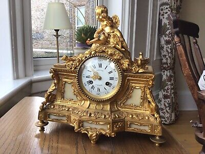 Antique 19C Gilt bronzed French Villard Mantle Clock (GWO)