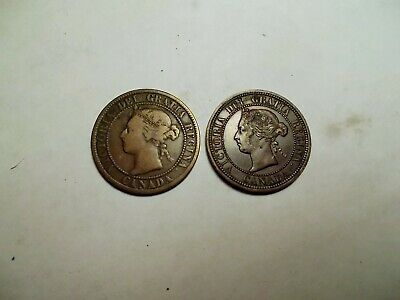 Canada 1882 1 Penny Coin Victoria  & 1895 1 Penny Coin Both  Nice Look