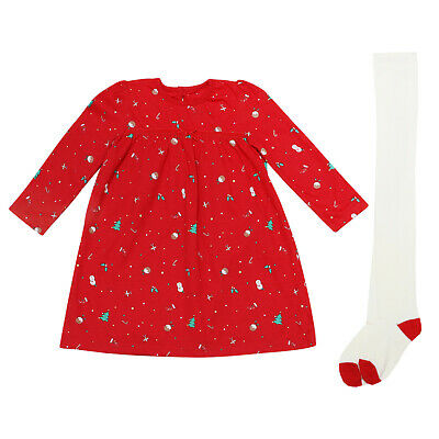 Baby Girls Christmas Dress Tights 2Pc Set Ex Uk Store Outfit Nb-18M Red Bnwt