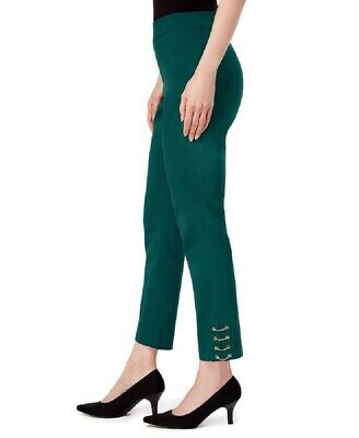 JM Collection Comfort Waistband Chain Ankle Stretch Pants Green XLarge XL NWT