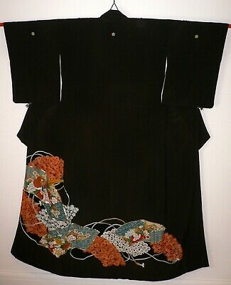 FAB VINTAGE FAUX SILK BLACK JAPANESE TOMESODE KIMONO, HAND CRAFTED Pheasant Bird