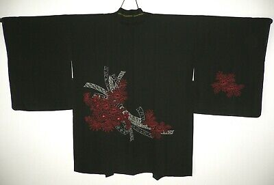 Authentic New Japanese Black Silk Blend Haori Kimono Jacket Red Flowers Ribbons