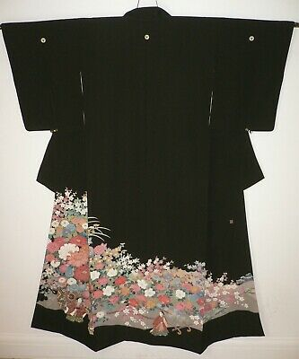 Fab Vintage Faux Silk Black Japanese Tomesode Kimono, Hand Crafted - Flower Cart