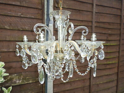 Ornate French Antique Crystal And Gilt Brass   Chandelier