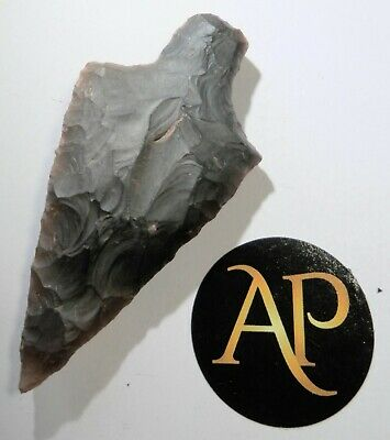 Very Rare English Neolithic Flint Spear Head Complete – North Norfolk 7.1 CM