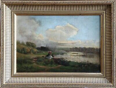 19th CENTURY FRENCH IMPRESSIONIST OIL - ELEGANT FIGURES FISHING - TO RESTORE