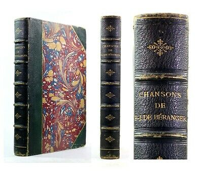 1866 Old Antique 19th Century French Chansons Beranger Illustrated Songs Leather