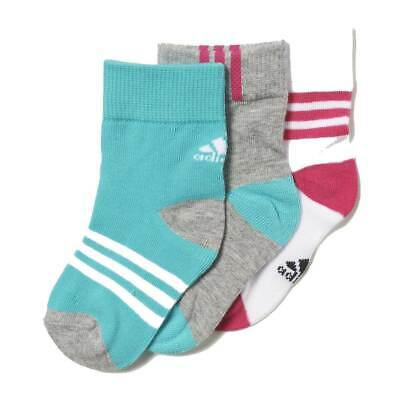 adidas 3-Pack Baby Infant Girl's Cotton Sport Socks Mint Grey White Pink 3 Pairs