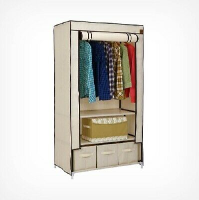 Canvas Wardrobe With Drawer Clothes Hanging Storage Fabric Rail Shoes Organizer