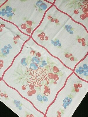 """Vintage Tablecloth Printed Cotton RED Fruits Cherries Strawberries 46x50"""" Grid"""