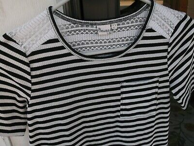 Girls MUDD Black & White Stripe A-Line Dress sz 12-1/2 Crochet Lace Shoulder *E