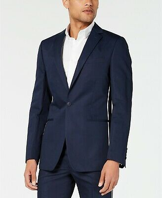 $500 Calvin Klein Men's Skinny-Fit Contrast Piped Suit 46R / 38 x 32 Navy Blue