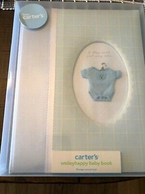 Carter's Light Blue Boys Smileyhappy Baby Record Book NEW. Item #18-7797
