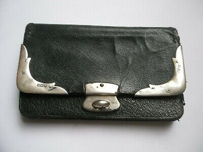 antique leather purse sterling silver mounted, London HD 1909