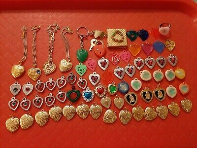 Huge Vintage Gumball/Vending/Dime Store Valentine Heart Charms/Jewelry Lot Of 72