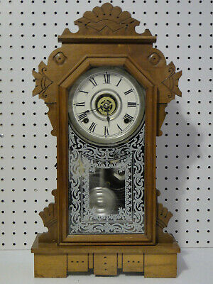 Antique Key Wind Ansonia Carved Oak Case Gingerbread Clock with Alarm working