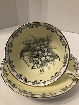 Vtg Paragon England Bone China Wedding To the Bride Yellow Cup & Saucer