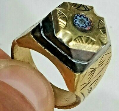 Rare Ancient Solid Ring Roman bronze Stunning Artifact Rare Type with Stone