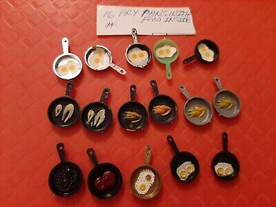 Vintage Gumball/Dime Store Frying Pans With Food Inside Lot Of 16