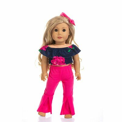 "18"" American Doll Clothes Summer Casual Wear Outfit Tops Pants Hair Bands g"