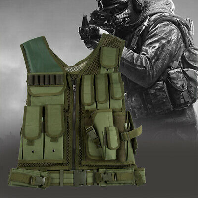 Tactical Vest Military Adjustable Molle Police Combat Gear Assault Carrier Green