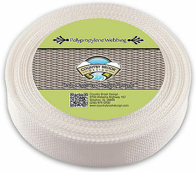 Country Brook Design® 1 1/2 Inch White Polypro Webbing, 25 Yards