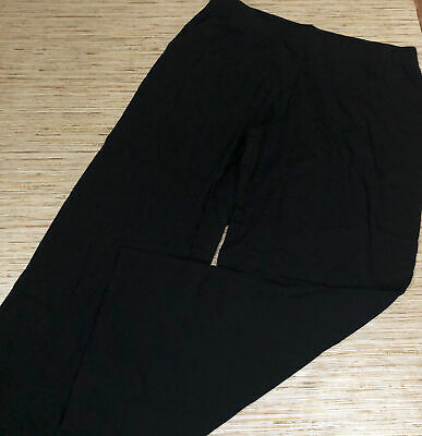 A-414 Denim & Co Beach Pull-On Pants with Side Slits BLACK size XL