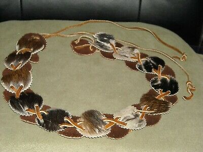 vintage hippy belt hair on & off cowhide leather rounds leather laced thru belt