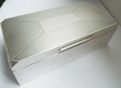 Superb Condition Large Heavy English Antique 1959 Sterling Silver Cigarette Box