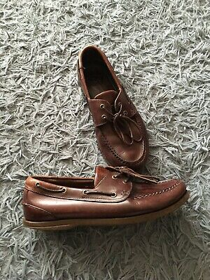 Clarks Mens Brown Leather Boat Shoes, Size 8G, Very Good Condition