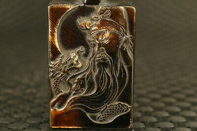 chinese old yak horn hand carved guangong  dragon snuff bottle jade bronze lid