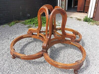 Rare Solid Large Mahogany Hotel Foyer Seat Floral Carved Statement Piece Courier