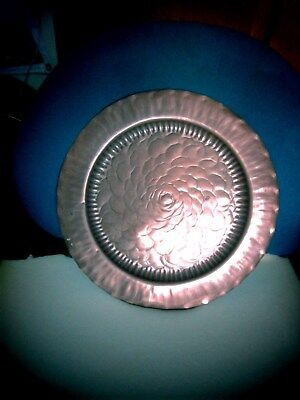 Antique C1800`s Hand Hammered Arts & Crafts Copper Wall Plaque or Platter