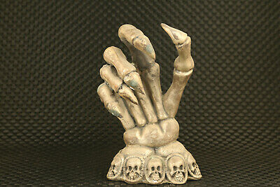 big chinese old tibet silver hand skull statue figure collectable ornament