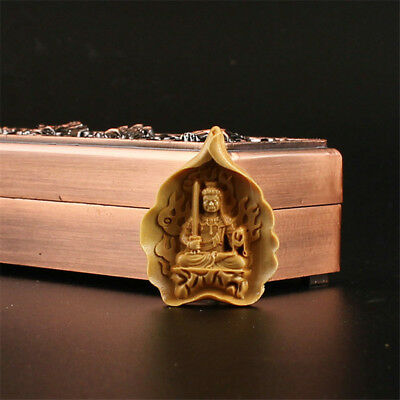 China Exquisite Boxwood Hand engraving Acalanatha Buddha Pendant h712