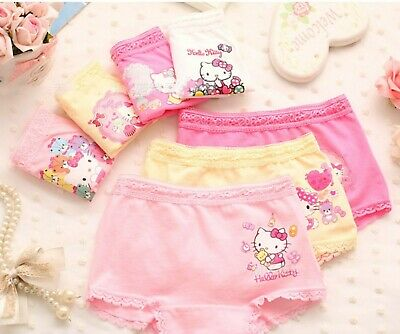 3PC Kid Girl Hello Kitty Cotton Underwear Undies shorts Panties Bottoms set 2-9y