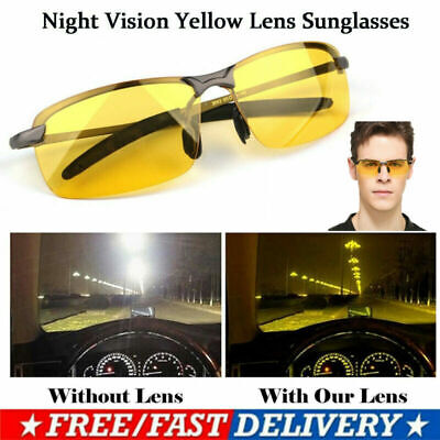 Unisex Night Driving Glasses Anti Glare Vision Polarized Tinted Yellow Lens UK