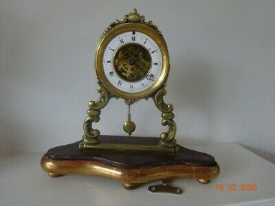 Unusual and pretty French skeleton clock in working order.