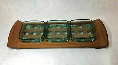 Dansk Designs Teak Lattice Tray & 4 Trivet Set Mid Century Modern Denmark