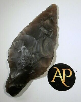 Rare Large English Neolithic Flint Spear Head Complete – North Norfolk 11.6 cm