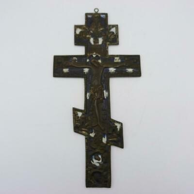 Large Antique Russian Orthodox Bronze And Enamel Blessing Cross, 18Th Century