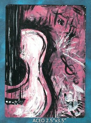 Original ACEO - Guitar - miniature acrylic painting, not framed