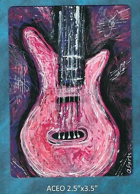 Original ACEO - Guitar - pink miniature acrylic painting, not framed