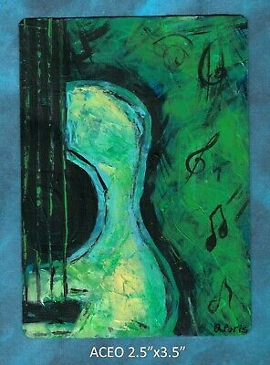 Original ACEO - Guitar - green miniature acrylic painting, not framed