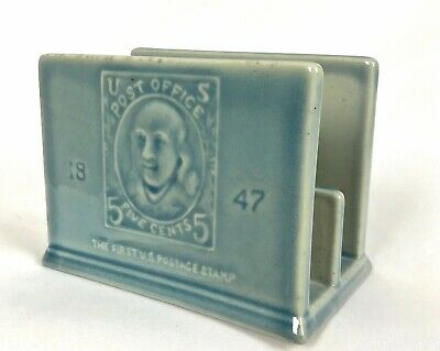 Rookwood American Art Pottery Blue Ceramic Letter Holder, Circa 1956